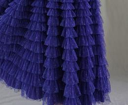 Women High Waist Tiered Tulle Skirt Polka Dot Champagne Maxi Tutu Skirt US0-US24 image 11