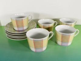 Studio Nova Tratorria Cup and Saucer Set (s) LOT OF 5 Plaid on White TPC23 - $24.70