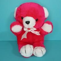 "Commonwealth Teddy Bear Red 10"" Plush Stuffed Animal White Ribbon Vintage 1987 - $33.95"