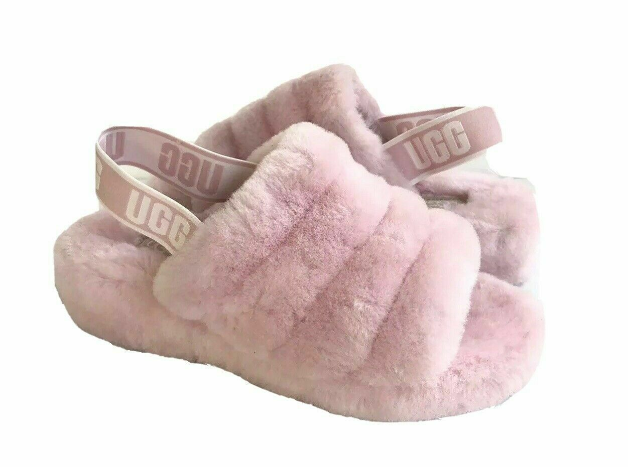 Primary image for UGG FLUFF YEAH SLIDE SEASHELL PINK MOCASSIN SLIP ON SANDAL US 10 / EU 41 / UK 8
