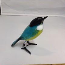 Hand Blown Glass Bird made in USA blue yellow chickadee style bird
