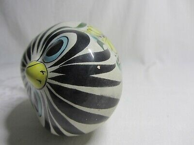 Vintage Tonala Mexico Mexican Painted Ceramic Pottery Owl Folk Art Blue Bird