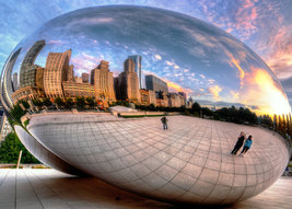"Chicago Bean ""Sky Gate""  Skyline Sunset      2.5 x 3.5  Fridge MAGNET - $3.99"