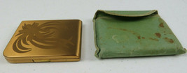 Vintage 1950 Elgin American Compact Makeup Mirror Gold Tone Powder Flowe... - $35.00
