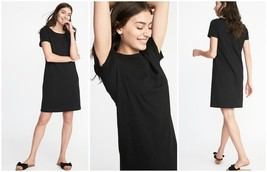 Old Navy Black Crew Neck Short Sleeves Shift Tee Dress Size - Extra Large - $501,95 MXN