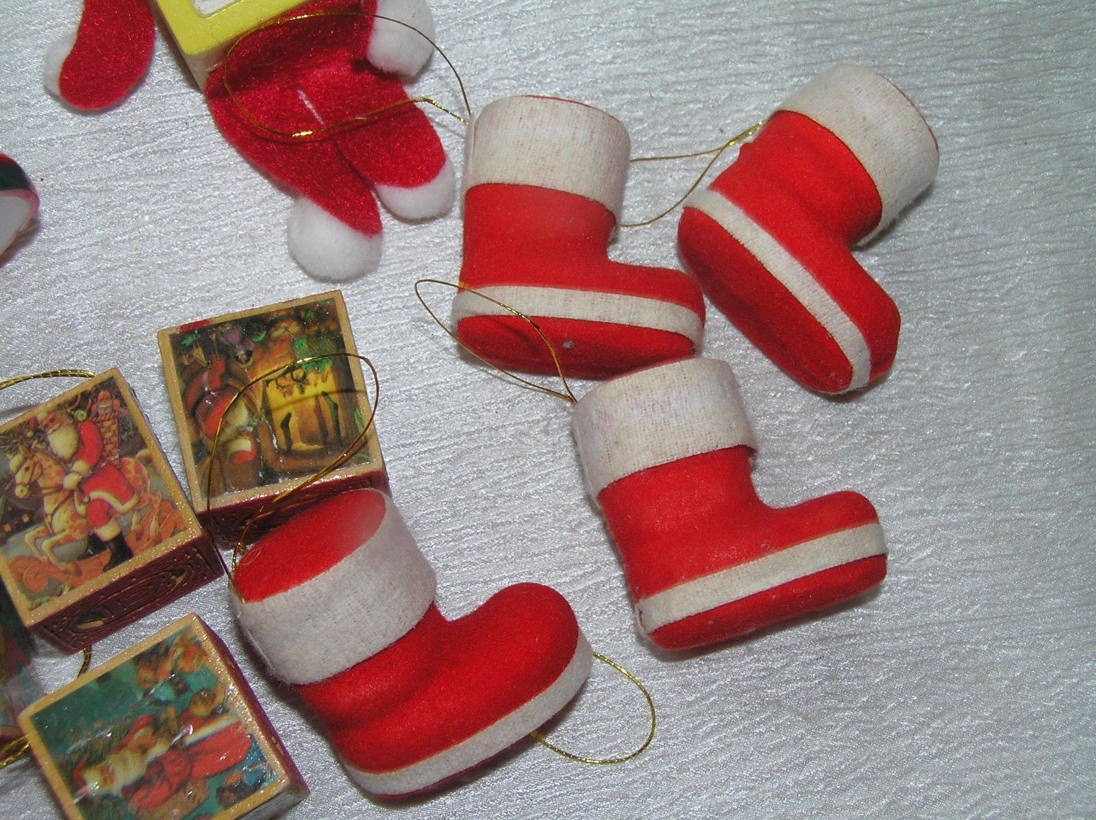 Lot of 11 Faux Wood Building Blocks Folk Art Elf Flocked Christmas Stocking  image 10
