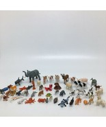 Plastic Toy Animal Figures Mixed Lot Of 59 -Pig Turtle Crab Shark Deer E... - $15.88