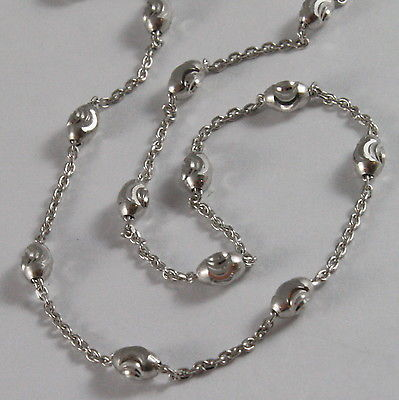 SOLID 18K WHITE GOLD CHAIN NECKLACE FACETED MINI BALLS LINK 15.75 MADE IN ITALY