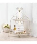 CORNER COUNTERTOP Bathroom Shelf Ivory Scrollwork Space-Saver - $38.89