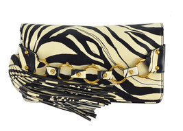 Roberto Cavalli Women's Black Cream Leather Zebra Tassel Clutch Bag~RTL$995 - $313.50