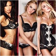 Victoria's Secret 36D Bra Set+M Sling+Corset Black White Silver Sexy Seduction - $296.99