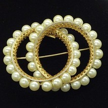 Napier Goldtone Brooch Pin Faux Pearl Interlocking Circles Brooch  - $24.99