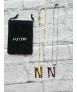 Futtmi Necklace Lot Initial N Silver Gold Plated Pendant Gift - $15.63
