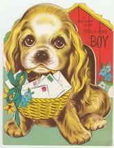 Vintage Birthday Card Cocker Spaniel Dog House For A Fine Boy 1962 - $9.89
