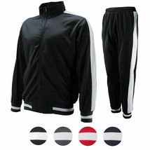 vkwear Men's Striped Athletic Running Jogging Gym Slim Fit Sweat Track Suit Set