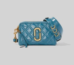 MARC JACOBS The Quilted Softshot 21 Small Camera Bag Cross-body Mystic Blue - $396.16 CAD