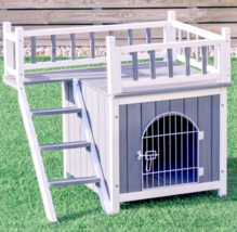Large Wood Pet House Dogs Cats Indoor Outdoor Puppy Raised Bed Balcony P... - $108.80