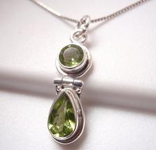 Peridot Faceted Double Gem 925 Sterling Silver Pendant Corona Sun Jewelry - $14.09