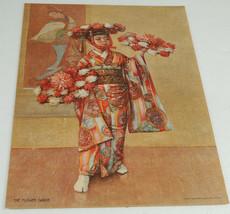 1904 THE FLOWER DANCE Asian Girl in Kimono flowers Print - $39.99