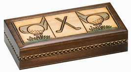 Golf Wood Box Polish Linden Wood Keepsake Handmade Jewelry Box - €30,46 EUR