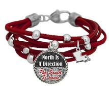 Louisiana North is Direction South is Home Red Leather Bracelet Southern... - $13.80
