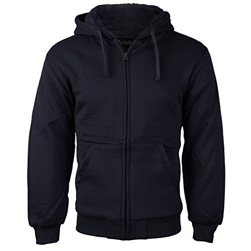 vkwear Men's Athletic Soft Sherpa Lined Fleece Zip Up Hoodie Sweater Jacket (Lar