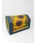 Wood hand carved and painted heavy treasure chest sunflower - $118.80