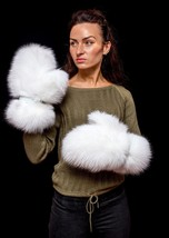 Genuine White Arctic Fox Fur Handmade Mittens Gloves - $244.99