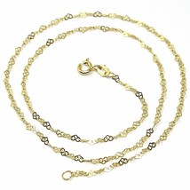 """18K YELLOW GOLD CHAIN HEART LINKS THICKNESS 2mm, 0.08"""" LENGTH 40cm, 16"""", HEARTS  image 1"""