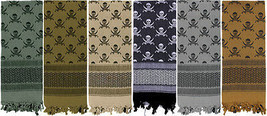 Skulls Shemagh Heavyweight Arab Tactical Desert Keffiyeh Scarf - $11.99+