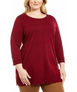 Karen Scott Womens Plus Cotton Contrast Trim Crewneck Sweater Red 1X - $24.02