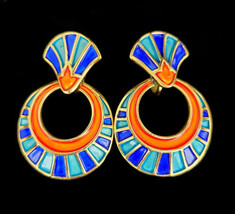 Vintage Trifari Rare 1960s Egyptian Revival King Tut Orange Blue Enamel ... - $341.99