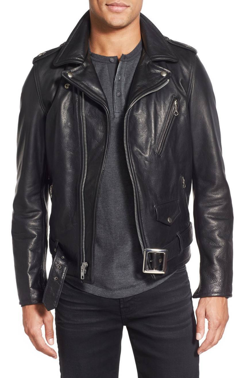New Men's Genuine Lambskin Leather Jacket  Slim fit Biker Motorcycle jacket-G39