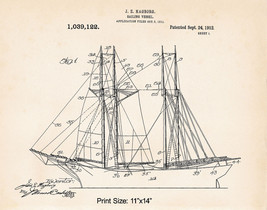 "1912 Beach Wall Art Decor Sailing 11""x14"" Patent Print Gifts For Boaters... - $12.38"