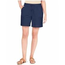 Karen Scott Women's Pull-On Knit Short Shorts Size M Intrepid Blue Elast... - $17.99