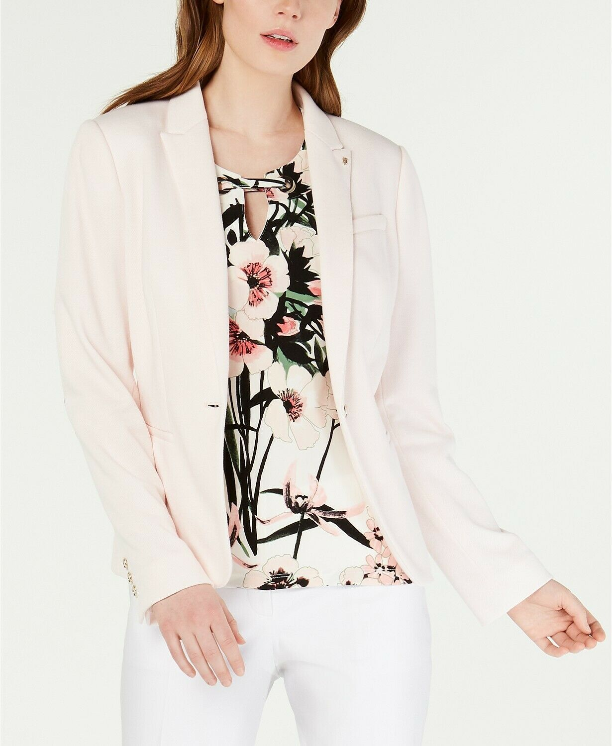 Primary image for Tommy Hilfiger WOMEN;S Sweatshirt Elbow-Patch Blazer,LIGHT PINK SIZE 2