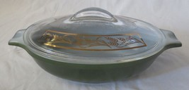 Vintage Mid Century Modern Glasbake Casserole Green J2274 clear gold lid - $20.00