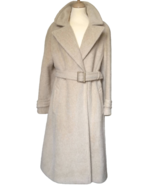 70s 100% Mohair Fluffy Cool Beige Ladies Classic Longline Notched Lapels... - $140.00