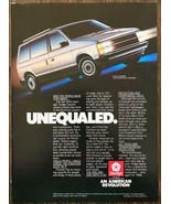 1986 Dodge Caravan Print Ad UnEqualed - $11.69