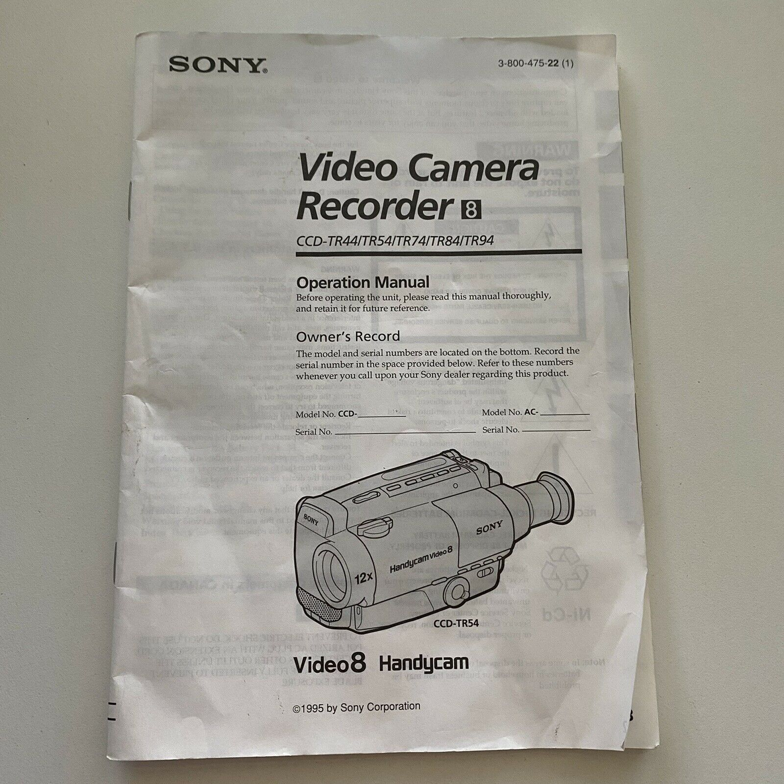 Sony Operational Manual CCD TR44/TR54/TR74/TR84/TR94 Video 8 Handycam 1995 - $7.70