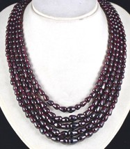 5 LINE 1057 CARATS NATURAL GARNET FANCY GEMSTONE LADIES BEADS NECKLACE image 1