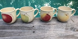 Retired 4 Hallmark Marjolein Bastin Apple Coffee Mugs Tea Cups Speckled Ceramic - $73.50