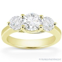 Forever ONE D-E-F Round Cut Moissanite 14k Yellow Gold 3-Stone Engagemen... - £673.57 GBP+