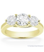 Forever ONE D-E-F Round Cut Moissanite 14k Yellow Gold 3-Stone Engagemen... - €846,64 EUR+