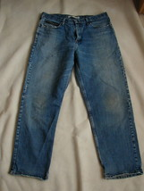 Men's Lee Jeans Relaxed Fit Size 38 X 32 Stonewashed Blue Distressed - $8.90