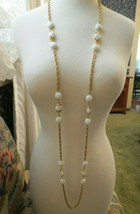 """VTG Crown Trifari Long Necklace Chain Gold Plated Glass Beads Couture 54"""" Long - $49.49"""