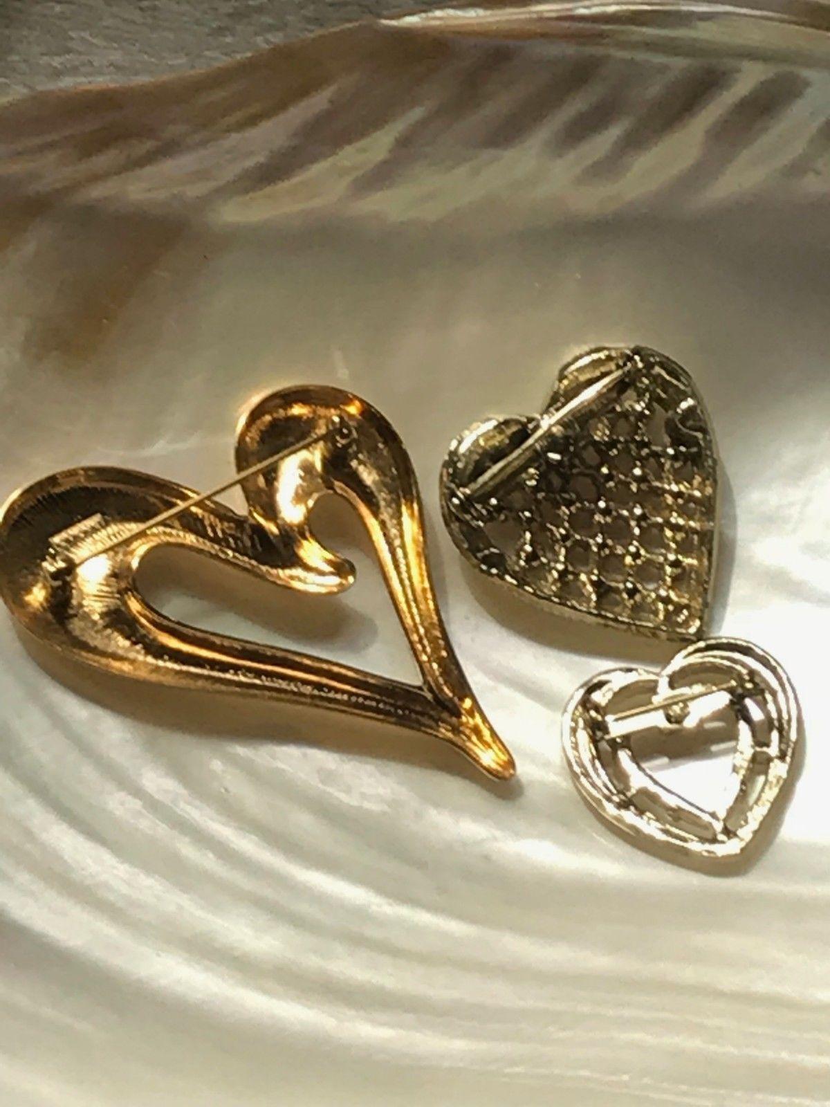 Vintage Lot of 3 Avon Signed Goldtone Slanted Red Rhinestone Encrusted Valentine image 6