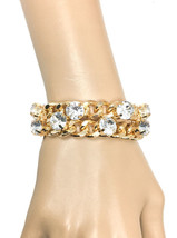 Chain Bracelet Or Necklace Incrusted Clear Rhinestones Chic Casual Hip Hop - $14.20