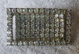 BEAUTIFUL Art Deco 1930-40s Rhinestone Rectangle PIN Rhodium 94 Prong Se... - $75.00