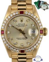 Rolex DateJust 69068 26mm 18K Solid Yellow Gold Diamond Ruby Bezel Oyster Watch - $11,093.11